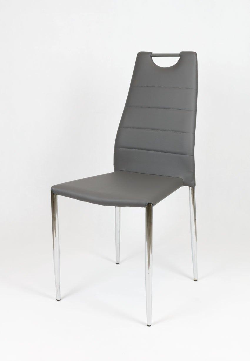 sk design ks005 ks005 grau kunsleder stuhl mit chromgestell grau angebot st hle farbe. Black Bedroom Furniture Sets. Home Design Ideas