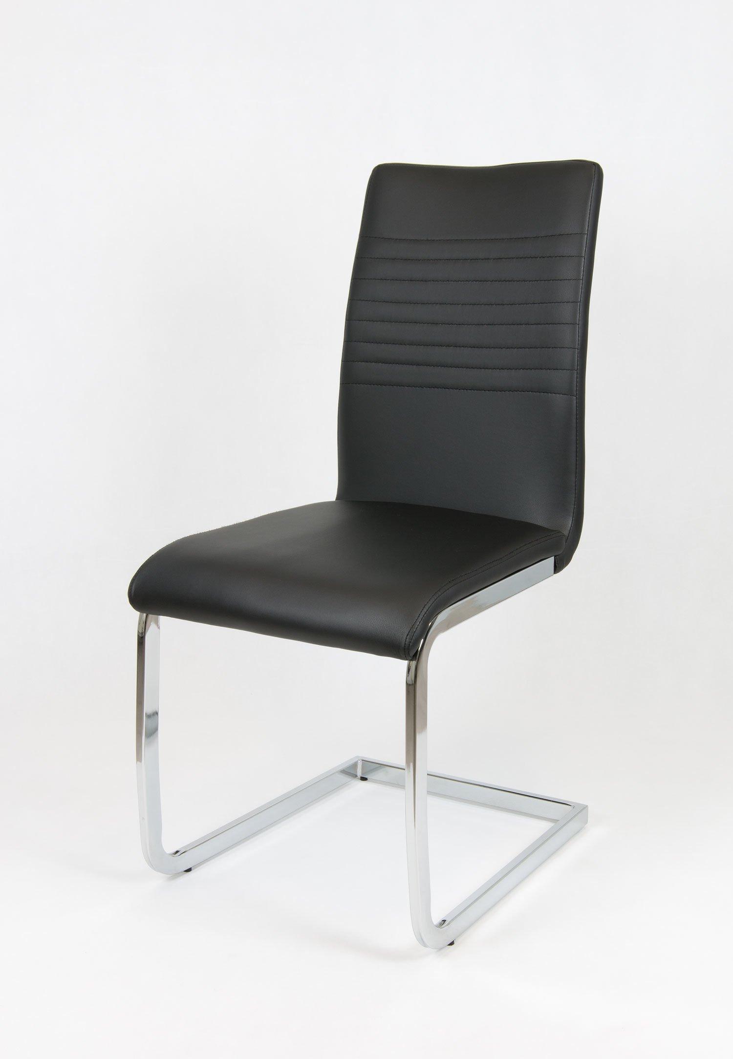 sk design ks038 schwarz kunsleder stuhl mit chrome schwarz angebot st hle farbe schwarz. Black Bedroom Furniture Sets. Home Design Ideas