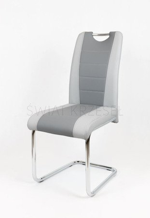 SK DESIGN KS034 GREY SYNTHETIC LETHER CHAIR WITH CHROME RACK