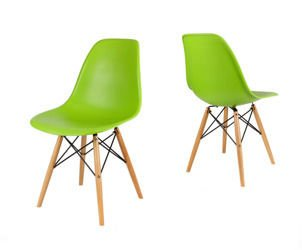 SK Design KR012 Green Chair, Beech legs