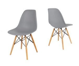 SK Design KR012 Grey Chair, Beech legs