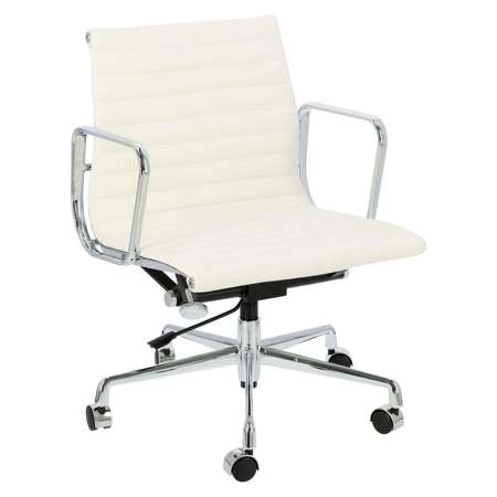 Armchair CH1171T white leather, chrome
