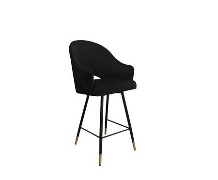 Black upholstered armchair DIUNA armchair material MG-19 with golden leg