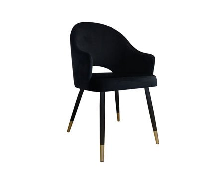 Black upholstered chair armchair DIUNA material MG-19 with golden legs