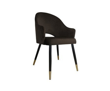 Dark brown upholstered chair DIUNA armchair material MG-05 with golden legs