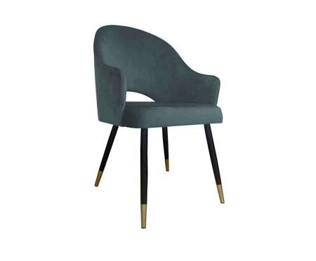 Dark gray upholstered chair DIUNA armchair material BL-14 with golden legs