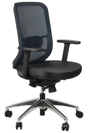 Fotel biurowy gabinetowy obrotowy wysuwane siedzisko Kuba - niebieski aluminium