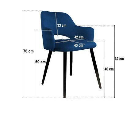 Gray upholstered STAR chair material MG-17 with golden leg