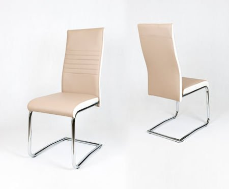 OUTLET (II gatunek) SK Design KS020 Beige Synthetic Leather Chair with Chrome Rack, White Side