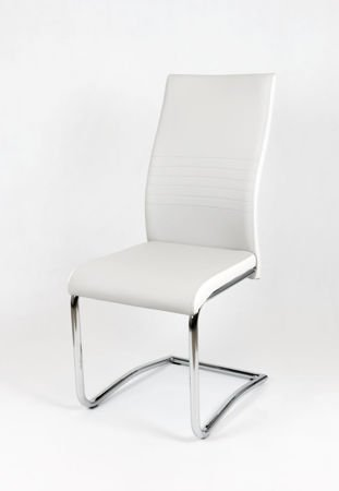 OUTLET SK DESIGN KS020 LIGHT GREY Synthetic lether chair with chrome rack