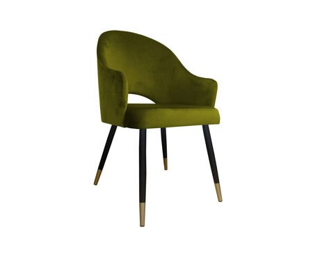 Olive upholstered chair DIUNA armchair material BL-75 with golden leg