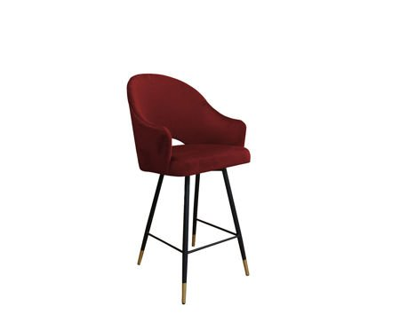 Red upholstered armchair DIUNA material MG-31 with a golden leg