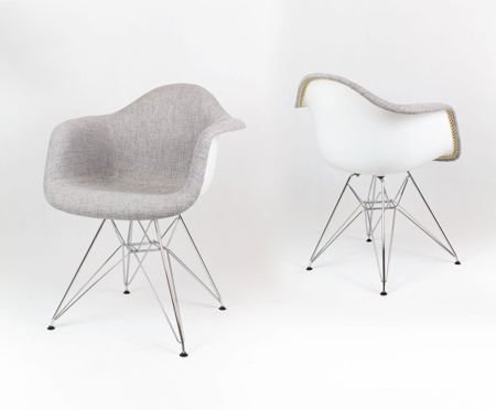 SK DESIGN KR012F TBSZ GREY UPHOLSTERED ARMCHAIR CHROM