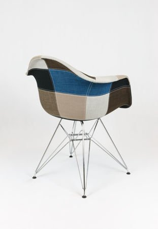 SK DESIGN KR012F UPHOLSTERED ARMCHAIR PATCHWORK 6  CHROME