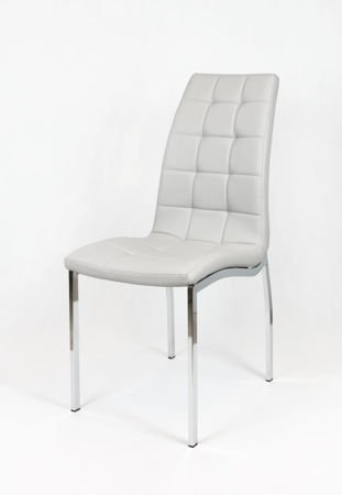 SK DESIGN KS002 Light Grey Synthetic lether chair with chrome rack
