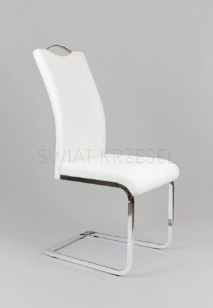 SK Design KS003 White Synthetic Leather Chair with Chrome Rack