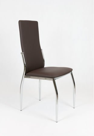 SK DESIGN KS004 BROWN-GREY SYNTHETIC LETHER CHAIR WITH CHROME RACK