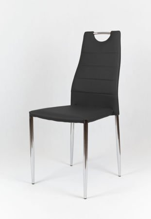 SK Design KS005 Black Synthetic leather chair with chrome rack