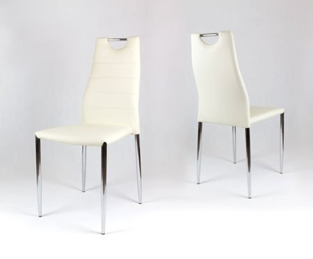 SK Design KS005 Cream Synthetic leather chair with chrome rack