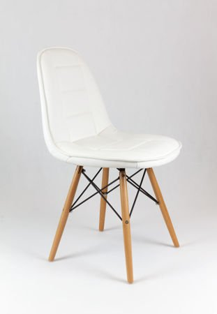 SK Design KS009 White Synthetic Leather Chair with Wooden Legs