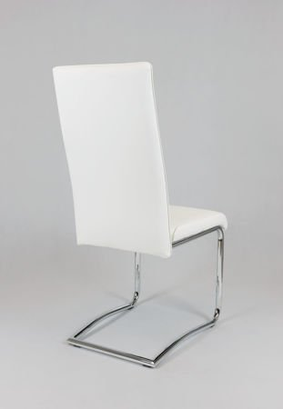 SK DESIGN KS022 WHITE Synthetic lether chair with chrome rack