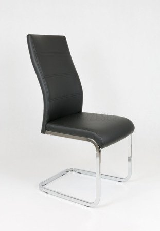 SK DESIGN KS032 BLACK SYNTHETIC LETHER CHAIR WITH CHROME RACK
