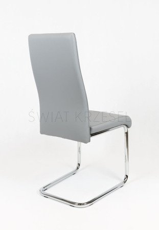 SK DESIGN KS036 GREY SYNTHETIC LETHER CHAIR WITH CHROME RACK