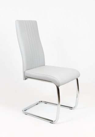 SK DESIGN KS036 LIGHT GREY SYNTHETIC LETHER CHAIR WITH CHROME RACK