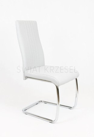 SK DESIGN KS036 WHITE SYNTHETIC LETHER CHAIR WITH CHROME RACK