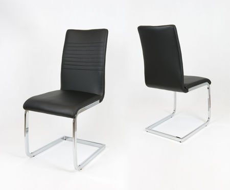 SK DESIGN KS038 BLACK SYNTHETIC LETHER CHAIR WITH CHROME
