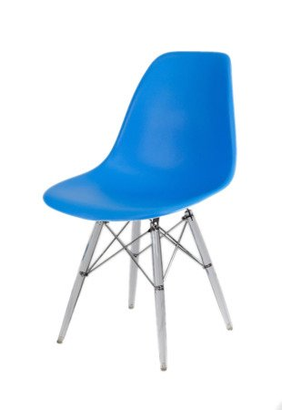 SK Design KR012 Blue Chair, Clear legs