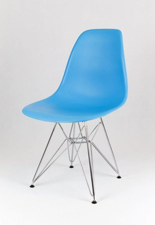 SK Design KR012 Ocean Blue Chair, Chrome Legs