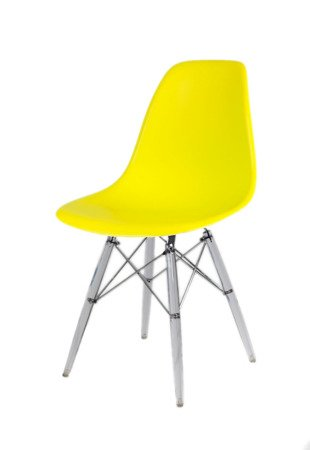 SK Design KR012 Yellow Chair, Clear legs