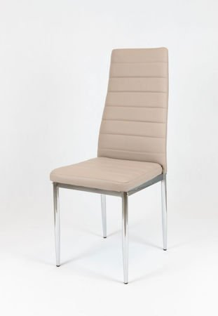 SK Design KS001 Beige Synthetic Leather Chair, Chrome Rack