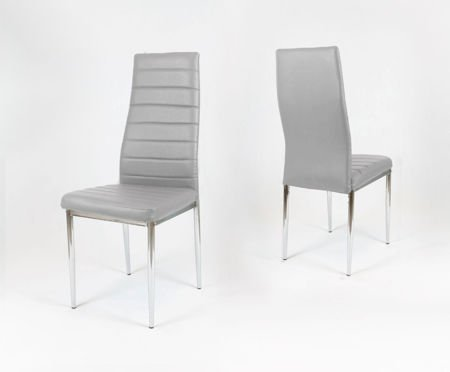 SK Design KS001 Light Grey Synthetic Leather Chair, Chrome rack
