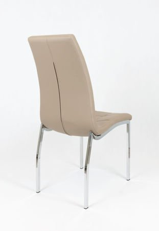 SK Design KS002 Beige Synthetic Leather Chair with Chrome Rack