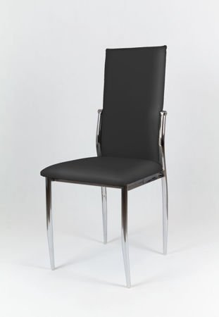 SK Design KS004 Black Synthetic Leather Chair with Chrome Rack