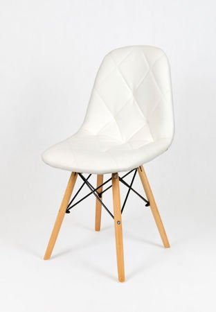 SK Design KS007A White Synthetic Leather Chair with Wooden Legs