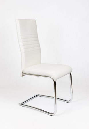 SK Design KS020 White Synthetic Leather Chair with Chrome Rack