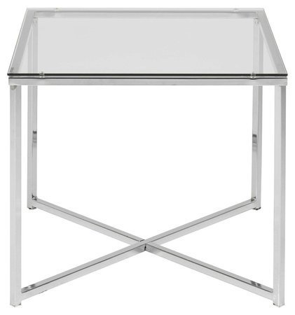 Square table Cross glass / chrome
