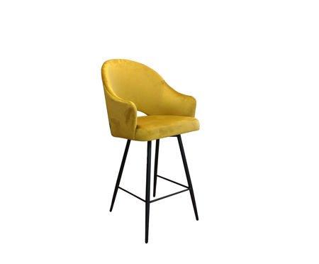 Yellow upholstered DIUNA bar stool mustard material MG-15