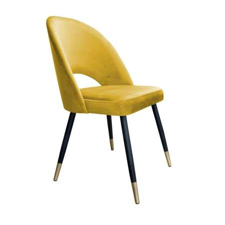 Yellow upholstered LUNA chair material MG-15 with golden leg