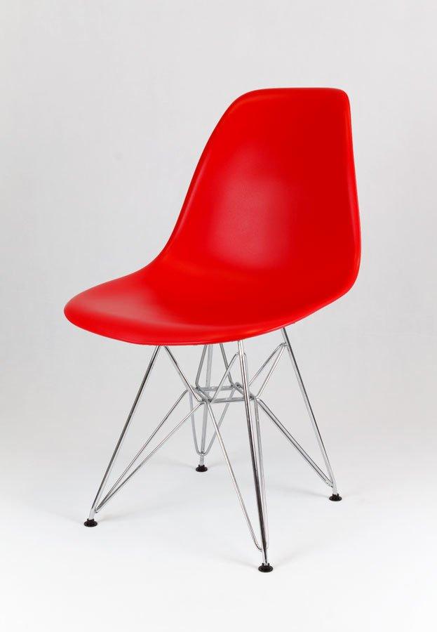 Sk design kr012 rot stuhl chrome rot metall verchromt for Stuhl design rot