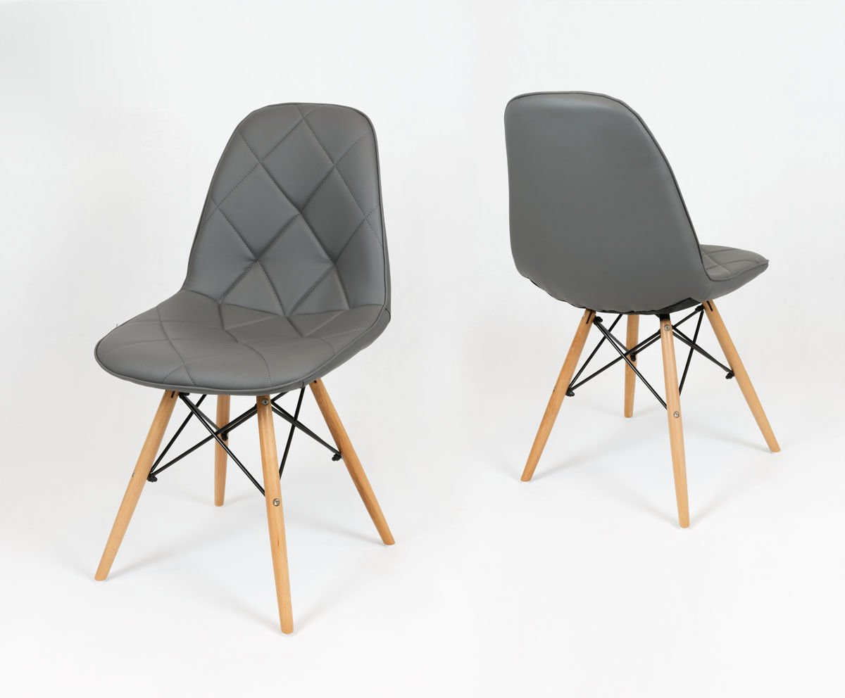 Sk design ks007 grau kunsleder stuhl mit holzbeine for Designer stuhl grau