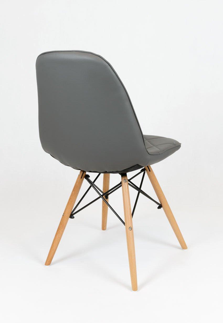 sk design ks007 grau kunsleder stuhl mit holzbeine. Black Bedroom Furniture Sets. Home Design Ideas