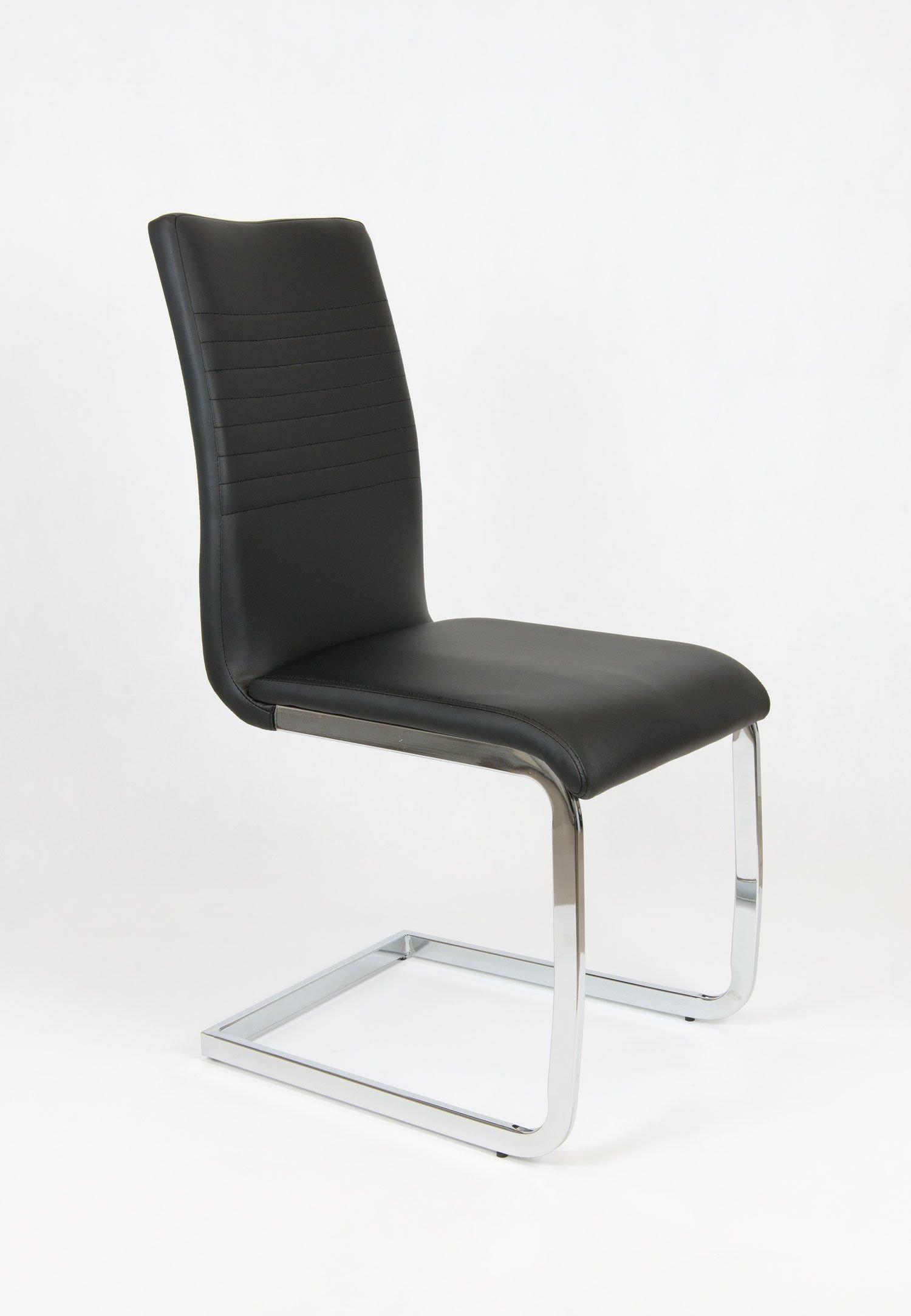 sk design ks038 schwarz kunsleder stuhl mit chrome schwarz angebot st hlen salon esszimmer. Black Bedroom Furniture Sets. Home Design Ideas