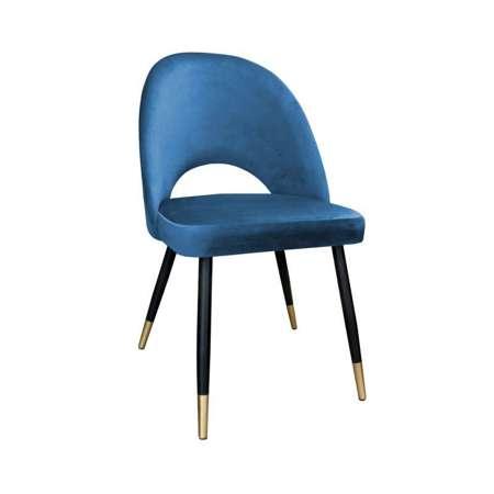 Blau gepolsterter Stuhl LUNA Material MG-33 mit goldenem Bein
