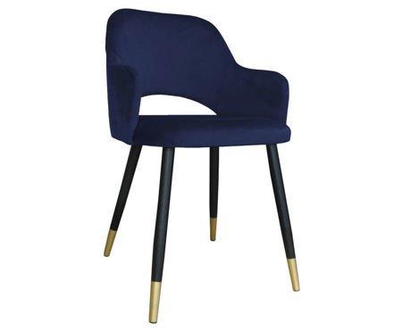 Blau gepolsterter Stuhl STAR Material MG-16 mit goldenem Bein