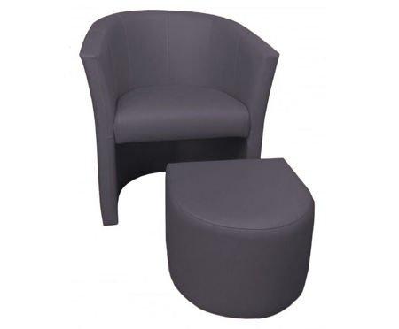 Dunkelgrau CAMPARI Sessel mit Fußstütze