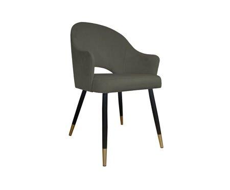 Grauer gepolsterter Stuhl DIUNA Sessel Material MG-17 mit goldenen Beinen
